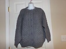 Women's Charcoal Gray Cardigan Sweater by Aran Crafts, Size L, 100% wool