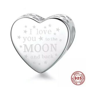New I Love You To The Moon & Back Genuine 925 Sterling Silver Heart Charm Gift