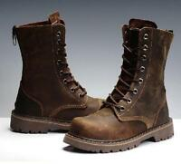 US Casual Leather Retro Military Ankle Combat Boots Mens New Punk Lace Up Shoes