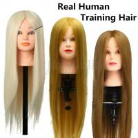 26'' Real Hair Hairdressing Practice Training Head Doll Mannequin + Clamp UK