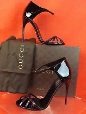 NIB GUCCI MARGOT PURPLE BLACK PATENT LEATHER CAGE ANKLE STRAP SANDALS 36 6 $725