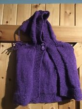 Hand Made Cape In Sparkle Purple Age 12 - 18 Months Pixie Poncho. Owl Buttons