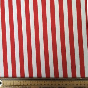RED WHITE STRIPE FABRIC REMNANT 150cms x 62cms COTTON JERSEY