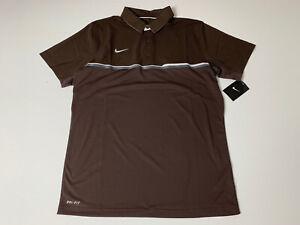 Nike Dri-Fit Elite Polo Coaches Collar Shirt(746954) Brown - Men's Size M  NEW