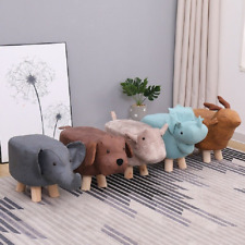 High quality animal small children poufs stool baby furniture solid wood