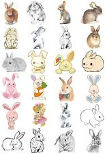 65 Mixed Bunny Rabbit Small Sticky White Paper Stickers Labels New