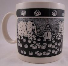 VINTAGE 1978 TAYLOR & NG CUP/MUG HAPPY ELEPHANT FAMILY & FRUIT BLACK/WHITE JAPAN