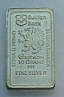 "10g ""Silver Is Money"" Gryphon Bullion Bank .999 Silver Fractional Bullion Bar"