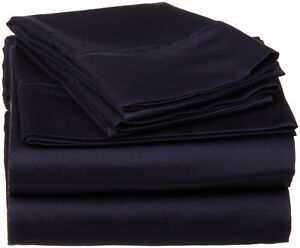 Navy Blue Solid King Size 4 Pc Sheet Set 1000 Thread Count 100% Egyptian Cotton