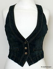 Button Cotton V Neck Petite Waistcoats for Women