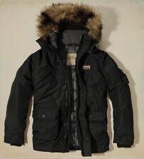 New Hollister Men Doheney Removable Faux Fur Hooded Parka Jacket Coat- Black -XL