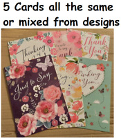 Pack of 5 Cards, Thank you, Thinking of You, Just to Say, Note Cards,  Various