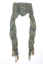 Turquoise Tangerine Black Paisley Print Gathered  Bouncy Everyday Scarf (S116)