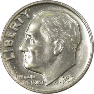 1969 Roosevelt Dime BU Uncirculated Mint State 10c US Coin Collectible