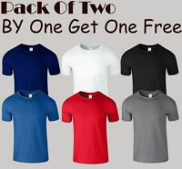 Plain Mens Soft Style Pack Of 2 T Shirt Cotton Short Sleeve Top SNS APPAREL