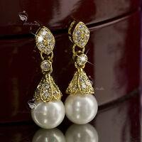 18k yellow gold GF made with swarovski crystal wedding pearl stud earrings