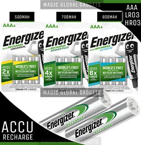 ENERGIZER AAA RECHARGEABLE BATTERIES 500mAh 700mAh 800mAh PRE CHARGED Ni-MH