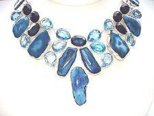 "AB Solar Quartz Druzy Iolite Blue Topaz Bib Statement Necklace 925 Silver 19-20"""