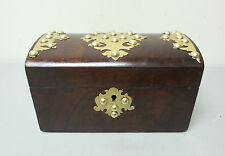 GORGEOUS ANTIQUE ENGLISH ROSEWOOD BOX, ORNATE BRASS TRIM & STUDS