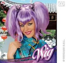 Purple Wig With Bunches Geisha School Girl Disco Fancy Dress