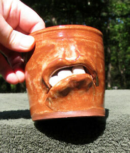 11 oz Ceramic FUNNY COFFEE FACE MUG drinking tea cup ugly jug pottery brown blue