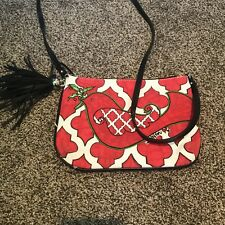 Brighton Love Dove Purse, Cross Body Bag Small Red And White, Tassels