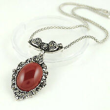 Vintage Jewellery Antique Silver & Red Teardrop Shape Pendant Necklace N104