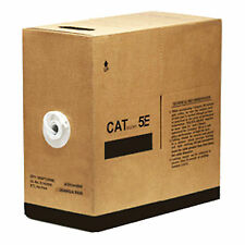 2 BOXES Solid Copper 1000 Feet CAT5E Cable White Jacket 350MHZ Ethernet 2000FT
