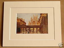 BATH ABBEY AND ROMAN PUMP ROOM VINTAGE DOUBLE MOUNTED PRINT 10 X 8 OVERALL