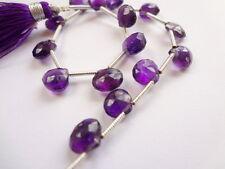 "7mm Amethyst Faceted Teardrop Briolette Gemstone Beads - 15pcs, 6.5"" Strand"