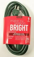 Make the Season Bright Extension Cord With Power Block 9 Feet 3 Outlets Outdoor