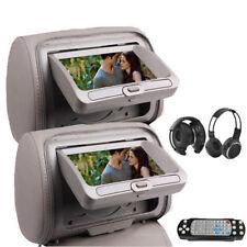"""7"""" HD Car Headrest Digital Monitor DVD Player Pillow USB SD FM IR Headphone USA"""