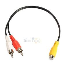 RCA Female Jack to 2 RCA Male Plug Y Splitter Audio Video Cord AV Adapter Cable