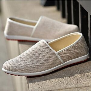 Summer New Fashion Men's Casual Breathable Loafers Canvas Driving Flats Shoes