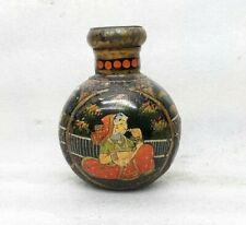 Vintage Old Indian Miniature Painting King Queen Pot Planter Iron Handmade MP