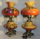 2 AMAZINGLY BEAUTIFUL HAND PAINTED FLORAL  GONE WITH THE WIND   PARLOR LAMPS