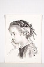 Lithographie XIX° Profil de fillette songeuse La Petite Boudeuse d'après Pégot