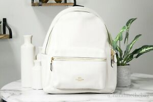 Coach F29004 Charlie Pebble Leather Solid Chalk Large Backpack BookBag Bag