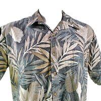 Cooke Street Reverse Print Large Gray Green Brown Leaves Hawaiian Aloha Shirt