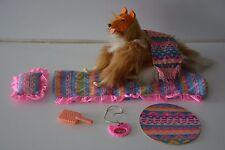 Poupée Barbie: chien Colley Turquoise Western Fun vintage