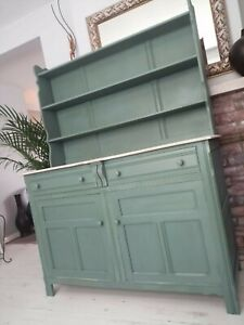 Green Welsh dresser display cabinet (10 miles free delivery)