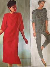 Style 1980s Top Skirt Trousers Pattern 4471 Size 10 12 14 Uncut Draped Front Vtg