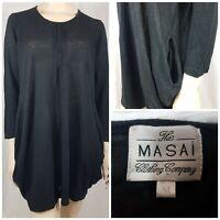 The Masai Clothing Company 100% Linen Black Lagenlook Dress Pockets Size UK M