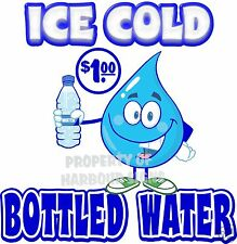 """Ice Cold Bottled Water $1.00 Drink Concession Beverage Food Truck Decal 8"""""""