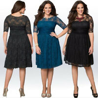 Womens Casual Plus Size Dress Short Sleeve Cocktail Skirt Lace Evening Costume