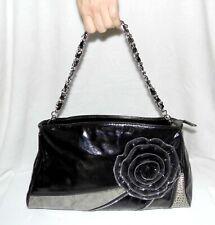 "GALIAN Patent Black / Grey Handbag Clutch Purse w/ rose 13 x 7"""