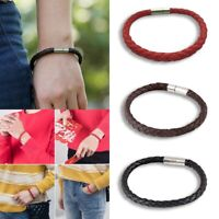 Unisex Women Men Leather Steel Magnetic Clasp Bracelet Braided Wristband Bangle