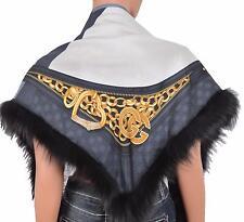 New Gucci Women's $929 296068 Silk and Black Fox Fur GG Bamboo Chain Scarf Shawl