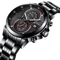 BIDEN Fashion Casual Mens Waterproof Steel Watch Quartz Analog Wrist Watches New