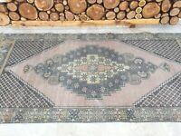 4'2''x9' Antique Rug Carpet,Vintage Oushak Rug,Large Wide Turkish Runner Rug